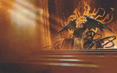 dark fantasy throne with brown curtains background,illustration
