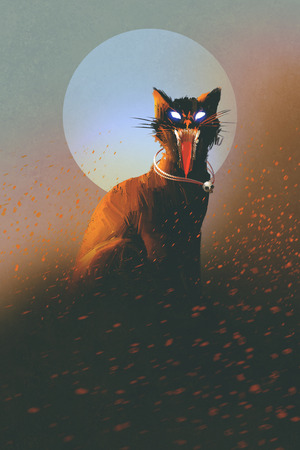 undead: evil cat on a background of the moon,undead,horror concept,illustration