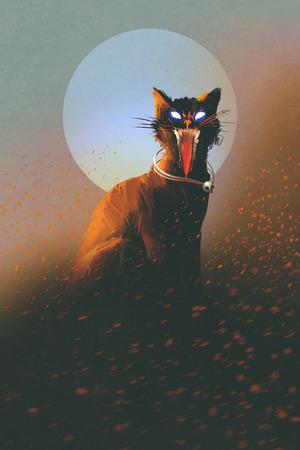 kwade kat op een achtergrond van de maan, undead, verschrikking concept, illustratie Stockfoto