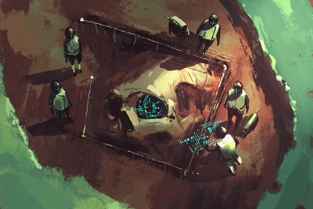 archeologie graven, reuze schedel, sci-fi scene, illustration painting