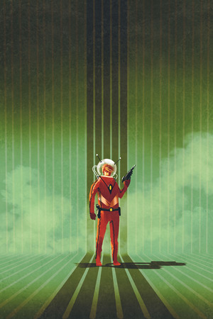 super hero in red suit holding gun over green background,vintage style,illustration painting