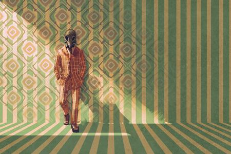 ヴィンテージ レトロなパターン、絵画の図が付いている壁に対して防毒マスク立っている実業家