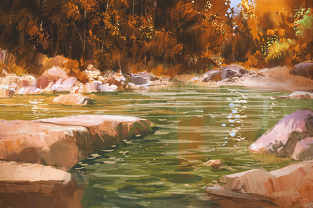 landscape nature: creek in autumn forest,nature,landscape,illustration painting Stock Photo