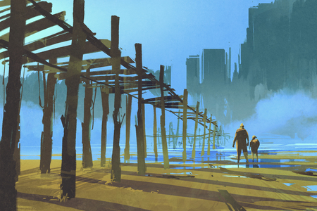 jetty: man and child walking under the old wooden pier,illustration painting Stock Photo