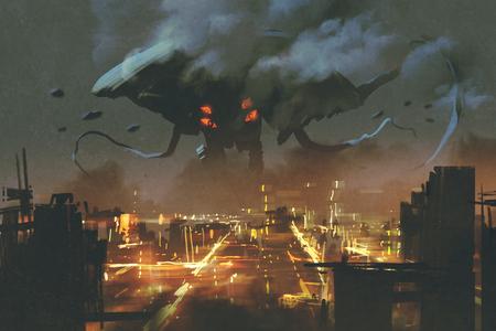 Scène de science-fiction, Alien monstre envahissant la ville la nuit, peinture illustation Banque d'images - 59132347