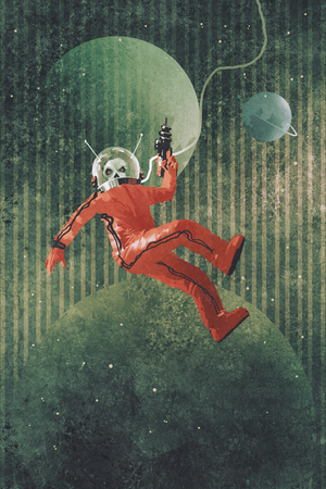 painting art: space man,astronaut in red suit holding a gun against the planet earth background