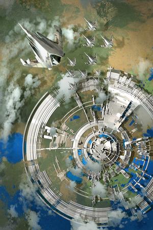 未来都市、エイリアンの惑星、絵画の図の空撮