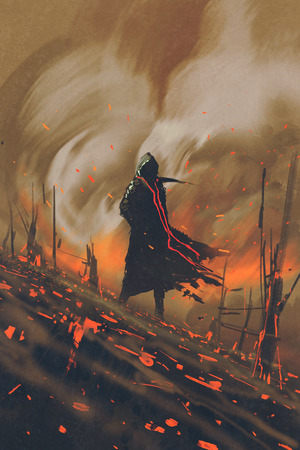 naranja arbol: el hombre en el manto negro de pie contra el bosque en llamas, pintura ilustración