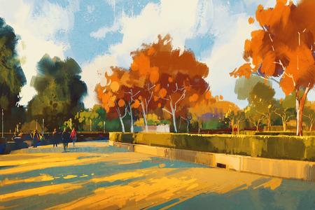 camino en el parque del otoño, pintura de paisaje, ilustración Foto de archivo