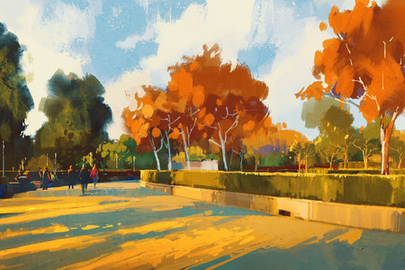 path in the autumn park,landscape painting,illustration