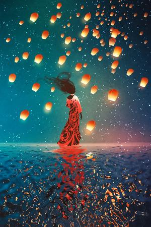 kobieta w sukni stojącej na wodzie przed latarniami przestawne w nocne niebo, ilustracja malarstwo