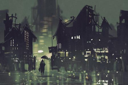 hombre con paraguas caminando en la ciudad en la noche oscura, pintura ilustración Foto de archivo