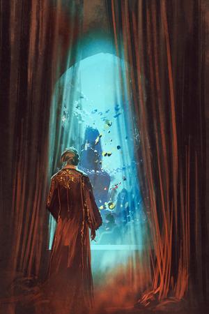 uomo rosso: L'uomo in abito rosso guardando mondo sottomarino attraverso la finestra, illustrazione pittura Archivio Fotografico