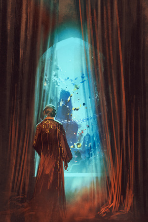 man underwater: man in red gown looking at underwater world through window,illustration painting Stock Photo
