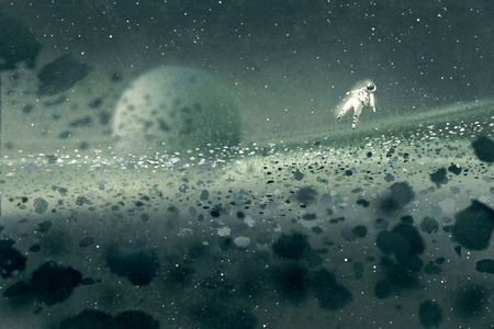 astronaut floating in asteroid field,mysterious space,illustration painting Фото со стока