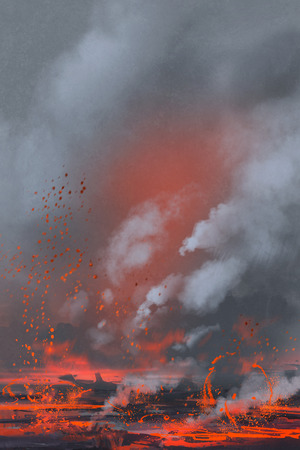 火山の噴火、溶岩湖、絵画の風景イラスト