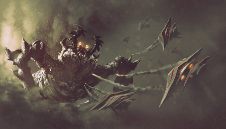 battle between spaceships and monster,sci-fi concept illustration painting Banco de Imagens