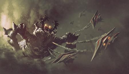 gevecht tussen ruimteschepen en monster, sci-fi concept illustratie painting Stockfoto