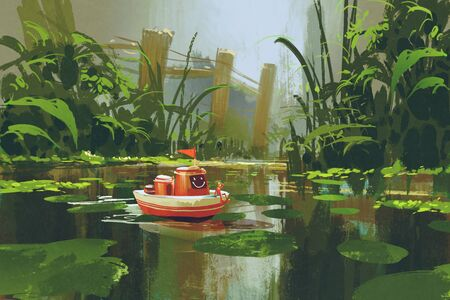 toy boat: toy boat sailing on river in forest,digital painting,illustration
