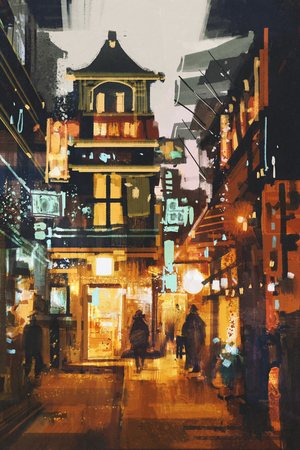 city alley: shopping place and cafes with illumination at night,illustration painting
