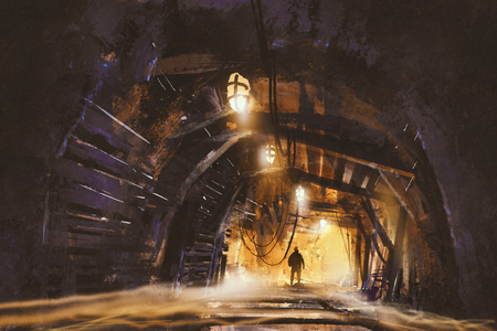 ruins: inside of the mine shaft with fog,illustration,digital painting Stock Photo