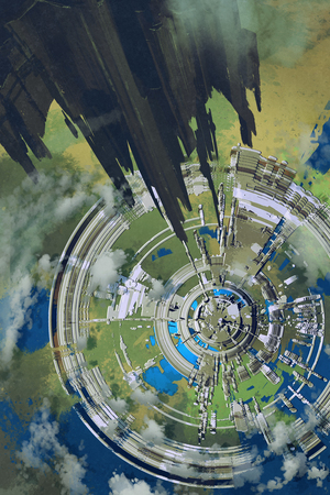 aerial view of futuristic city and spacecraft in the foreground,alien planet,illustration painting Imagens