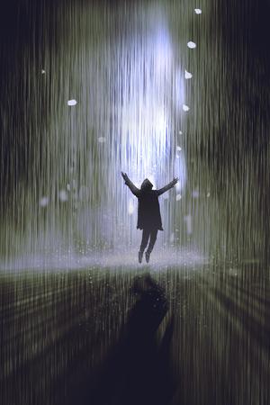 uomo sotto la pioggia: sagoma di uomo alzando le braccia sotto la pioggia durante la notte, illustrazione, pittura digitale Archivio Fotografico