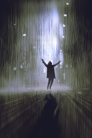 illustration and painting: silhouette of man raising arms in the rain at night,illustration,digital painting