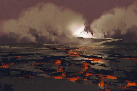 Pęknięcia w ziemi z magmy, człowiek chodzący na skale most z dymem, wulkaniczny krajobraz, ilustracja malarstwo