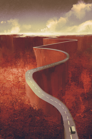scenic drive,extreme winding road with cliff,llustration digital painting