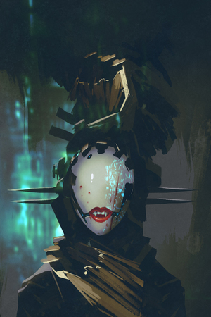 cyber girl: robot woman with artificial face,futuristic concept,illustration painting Stock Photo