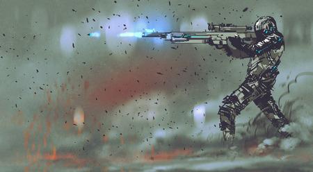 미래 지향적 인 개념 소총을 촬영 군인, 손으로 그리는 그림