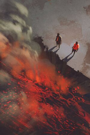 cliff edge: two men standing at the edge of the volcanic rock cliff with lava,illustration,digital painting