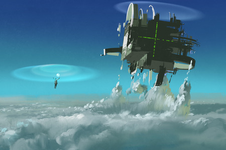 breaking through: man casting the futuristic structure breaking through clouds,illustration painting Stock Photo