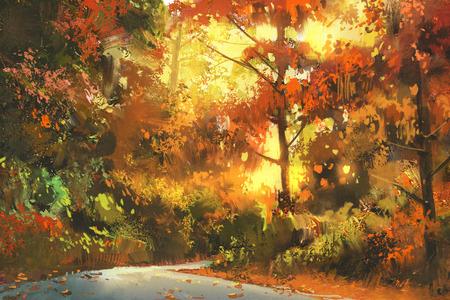 route door het kleurrijke bos, de herfst landschap het schilderen, illustratie Stockfoto
