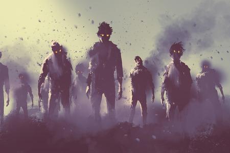 夜、ハロウィーンの概念、絵画イラストで歩くゾンビの群衆