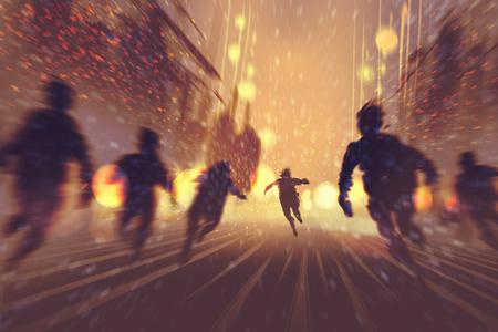 uomo fuggendo da zombie, bruciando città sullo sfondo, illustrazione, pittura digitale