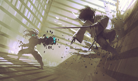 fight: fight between samurai and robot in dojo, sci-fi action scene, illustration,digital painting