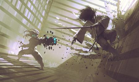 gevecht tussen samurai en robot in dojo, sci-fi actie scene, illustratie, digitaal schilderen