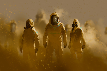 dangerous work: men in protective suit,outbreak concept,illustration painting