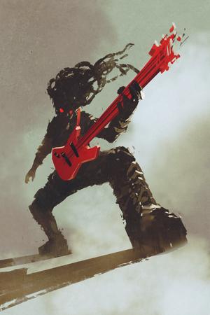 rocker chitarrista a suonare la chitarra rossa, illustrazione, pittura digitale