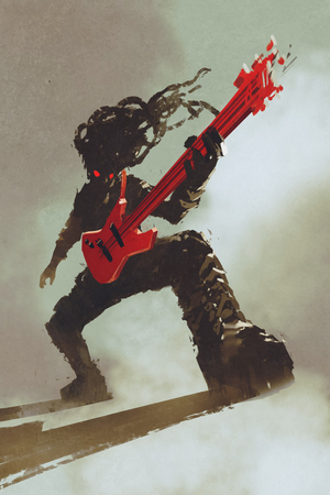 rocker: rocker guitarist playing red guitar,illustration,digital painting Stock Photo