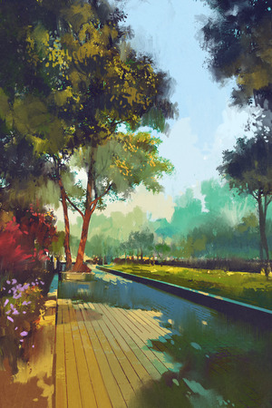 city landscape: painting of beautiful garden,park in the city,illustration