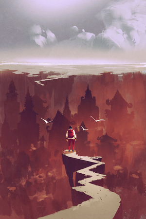 cliff edge: man standing on rock path looking at the buried city,illustration painting Stock Photo