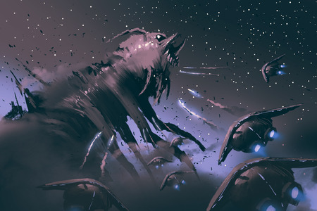 scifi: battle between spaceships and  insect creature,sci-fi concept illustration painting