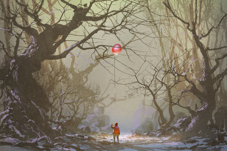 boy looking up red balloon stuck in a tree branches,alone in dark forest,illustration,digital painting