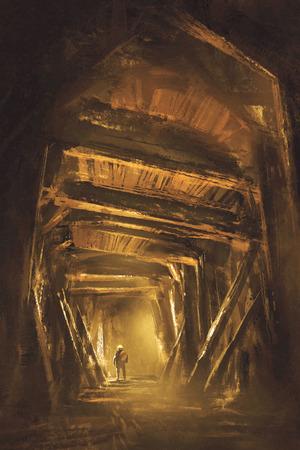 wewnątrz wału kopalnianego, ilustracja, malowanie cyfrowe
