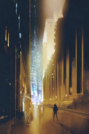 stad smalle straat 's nachts en het silhouet van de mens loopt alleen, illustratie, digitaal schilderen