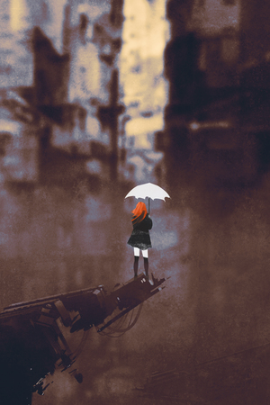 red hair: rear view of woman with white umbrella standing against ruined city,illustration painting