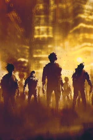 folla di zombie che cammina in città di notte, concetto halloween, illustrazione pittura
